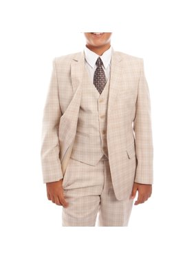 Boys Suit 3-Piece Checkered Suit WIth Free Matching Shirt & Tie Size 2-20-BLOWOUT SALE