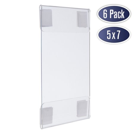 Wall Mount Acrylic Sign Holder - 5 x 7 Inches Portrait or 7 x 5 Inches Landscape Photo Frames with Hook and Loop Adhesive. Perfect for Signs, Menus, Documents, Pictures, Flyers, and More (6 Pack) (Wall Mount Acrylic Sign Holder)