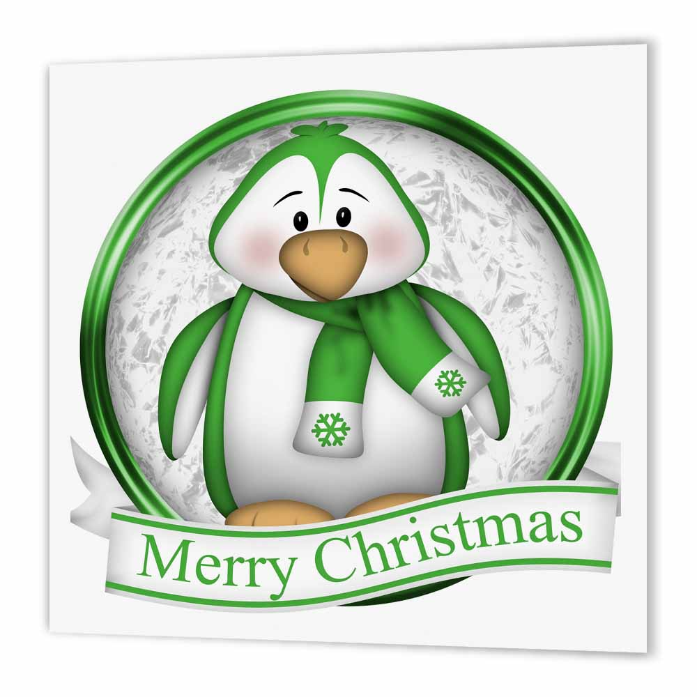 3dRose Cute Green and White Penguin With Merry Christmas, Iron On Heat Transfer, 8 by 8-inch, For White Material