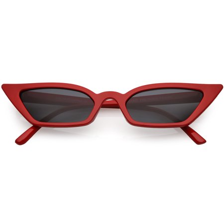 Women's Thin Extreme Cat Eye Sunglasses Rectangle Lens 47mm (Red / Smoke) by Sunglass.La