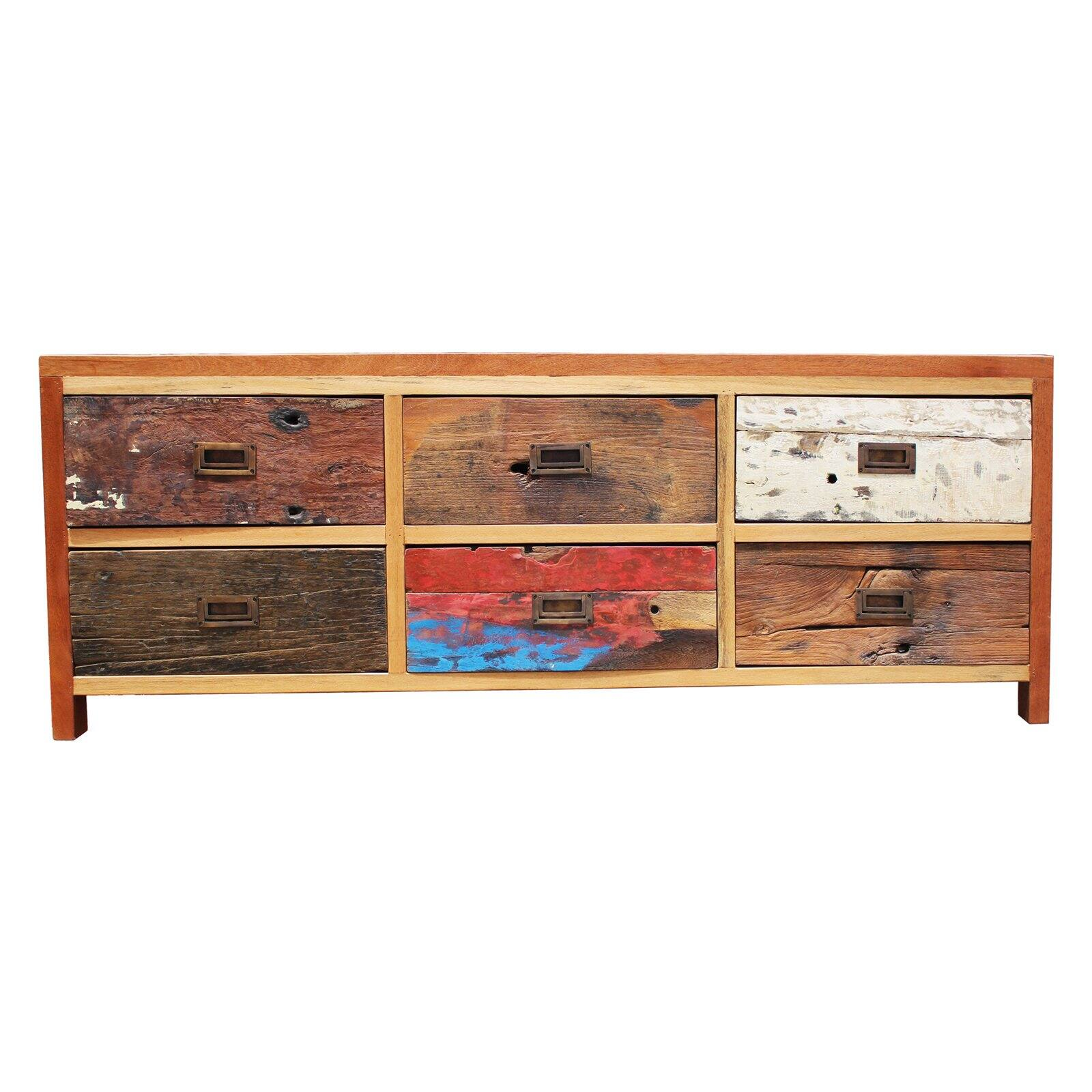 Picture of: Chic Teak Indoor Outdoor Dresser Buffet With 6 Drawers Made From Recycled Teak Wood Boats Walmart Com Walmart Com