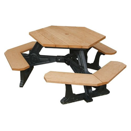 Polly Products Plaza Hexagon Recycled Plastic Picnic Table