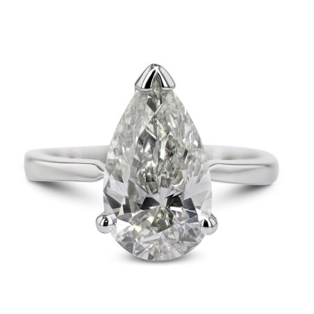 Platinum Solitaire Diamond Ring Natural 1.07 Carat Weight Pear Shaped G