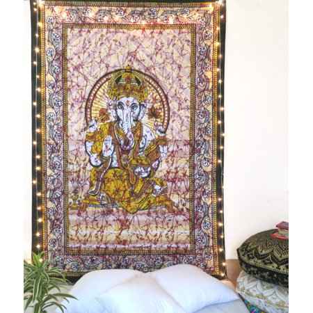 Brown Lord Ganesha Tapestry Ethnic Indian Wall Hanging Boho Art Living Room Decor By
