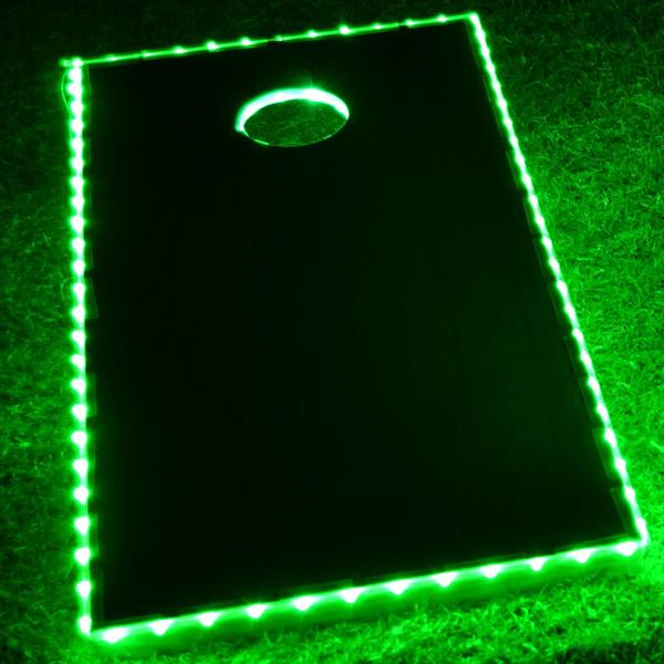 GlowCity Light Up Waterproof LED Single Cornhole Lighting Kit (Cornhole Boards Not Included) - Green