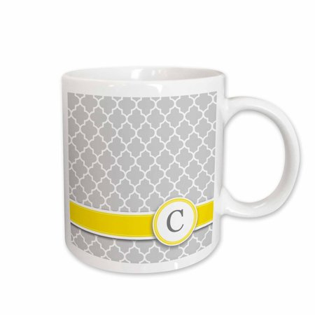 3dRose Your personal name initial letter C - monogrammed grey quatrefoil pattern - personalized yellow gray, Ceramic Mug, 11-ounce](Monogrammed Cups)