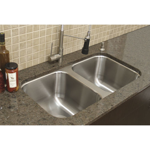 A-Line by Advance Tabco 31'' x 16.5'' Double Bowl Undermount Kitchen Sink