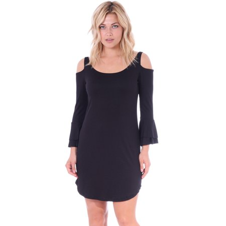 Bell Bottom Dress (Womens Cold Open Shoulder Tunic Dress with 3/4 Ruffle Bell Sleeves, Black - Made in)