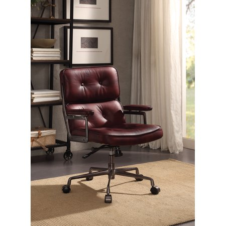 ACME Larisa Executive Office Chair in Vintage Merlot Top Grain (Merlot Office)