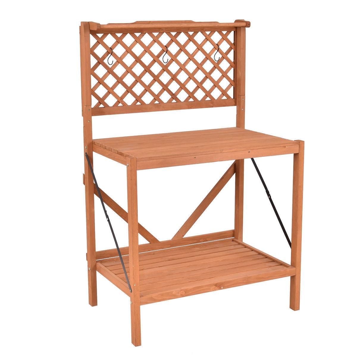 "GHP 35.4""x23.4""x56.3"" Natural Wood Potting Bench with 3 Hooks Handling Bar & Shelf"