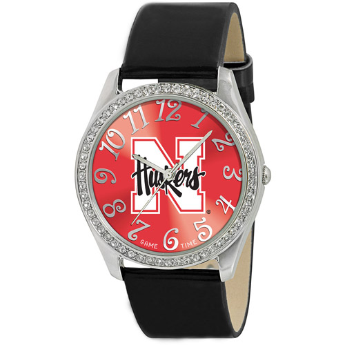 Game Time NCAA Women's University of Nebraska Cornhuskers Glitz Watch, Silver