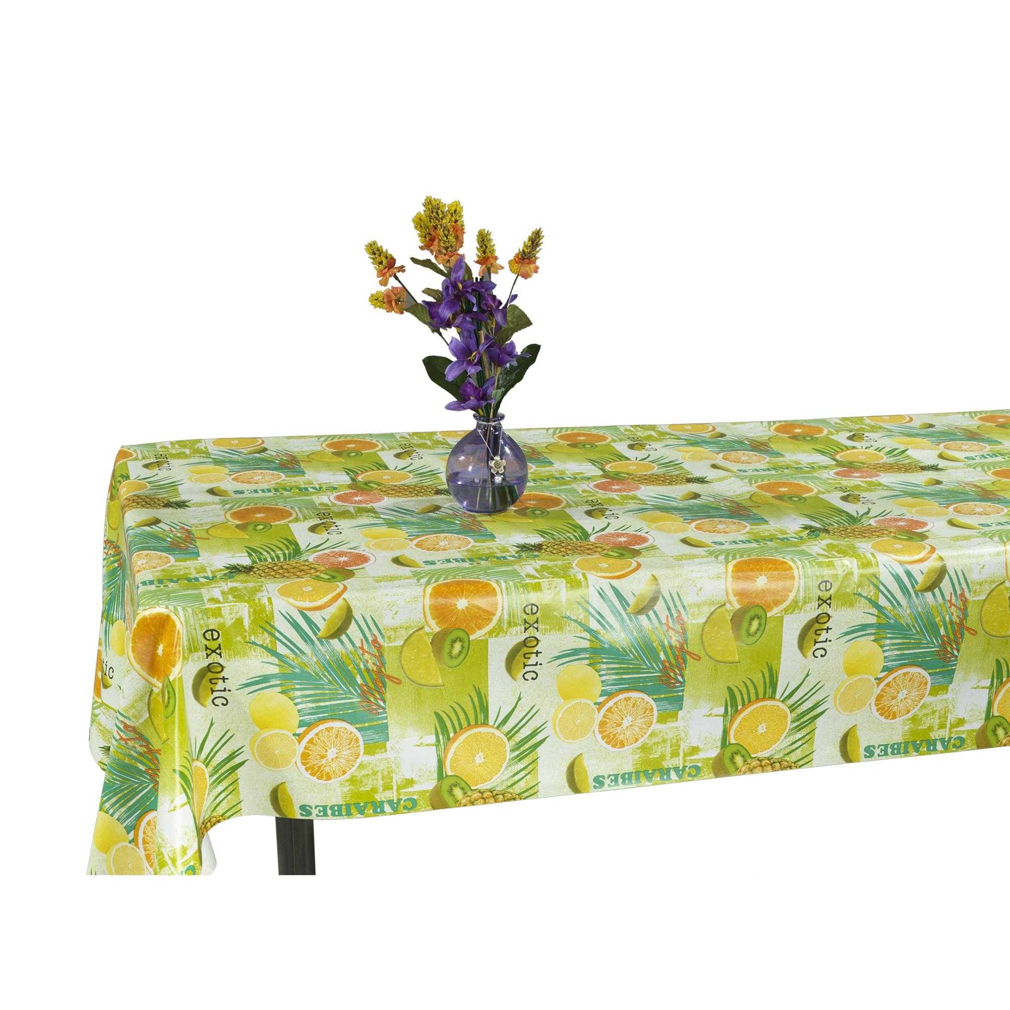 Ottomanson  Vinyl Tablecloth Tropical Fruit Design Indoor & Outdoor Non-Woven Backing Tablecloth