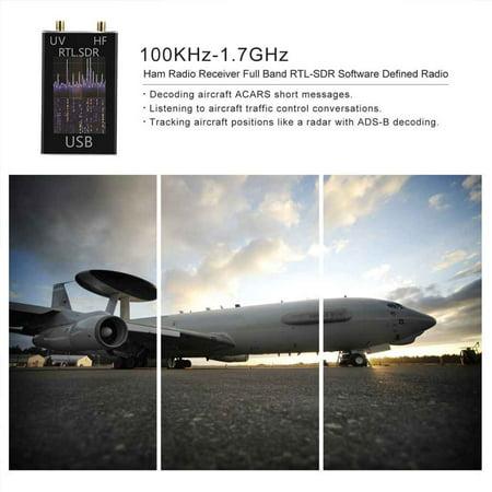 100KHz-1 7GHz Ham Radio Receiver Full Band RTL-SDR Software Defined Radio  USB Tuner Receiver