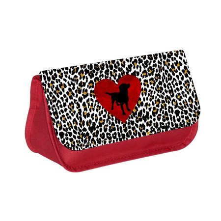 Dachshund Puppy Silhouette on Red Heart on Leopard Print -  Red Cosmetic Case - Makeup Bag - with 2 Zippered Pockets