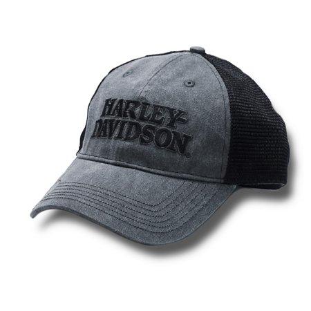 Harley-Davidson Men's Embroidered Skull & H-D Text Mesh Trucker Cap BCC119975