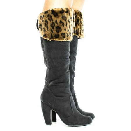 Leopard Knee High Socks - Mozza28 by Bamboo, Leopard Black Knee High Animal Print Faux Fur Shaft High Heel Boots