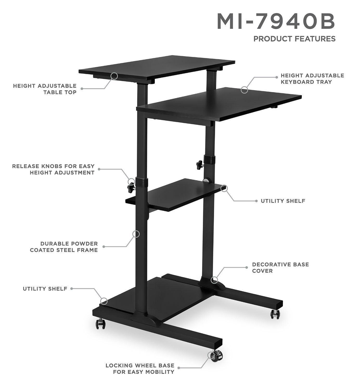 mountit mobile stand up desk height adjustable computer work station rolling - Stand Up Workstation
