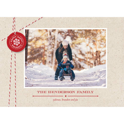 Holiday Twine and Tag - 5x7 Personalized Holiday Card