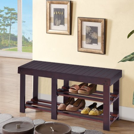 Wooden Shoe Bench Storage Shelf Organizer Seat Entryway Hallway Espresso - image 8 of 8