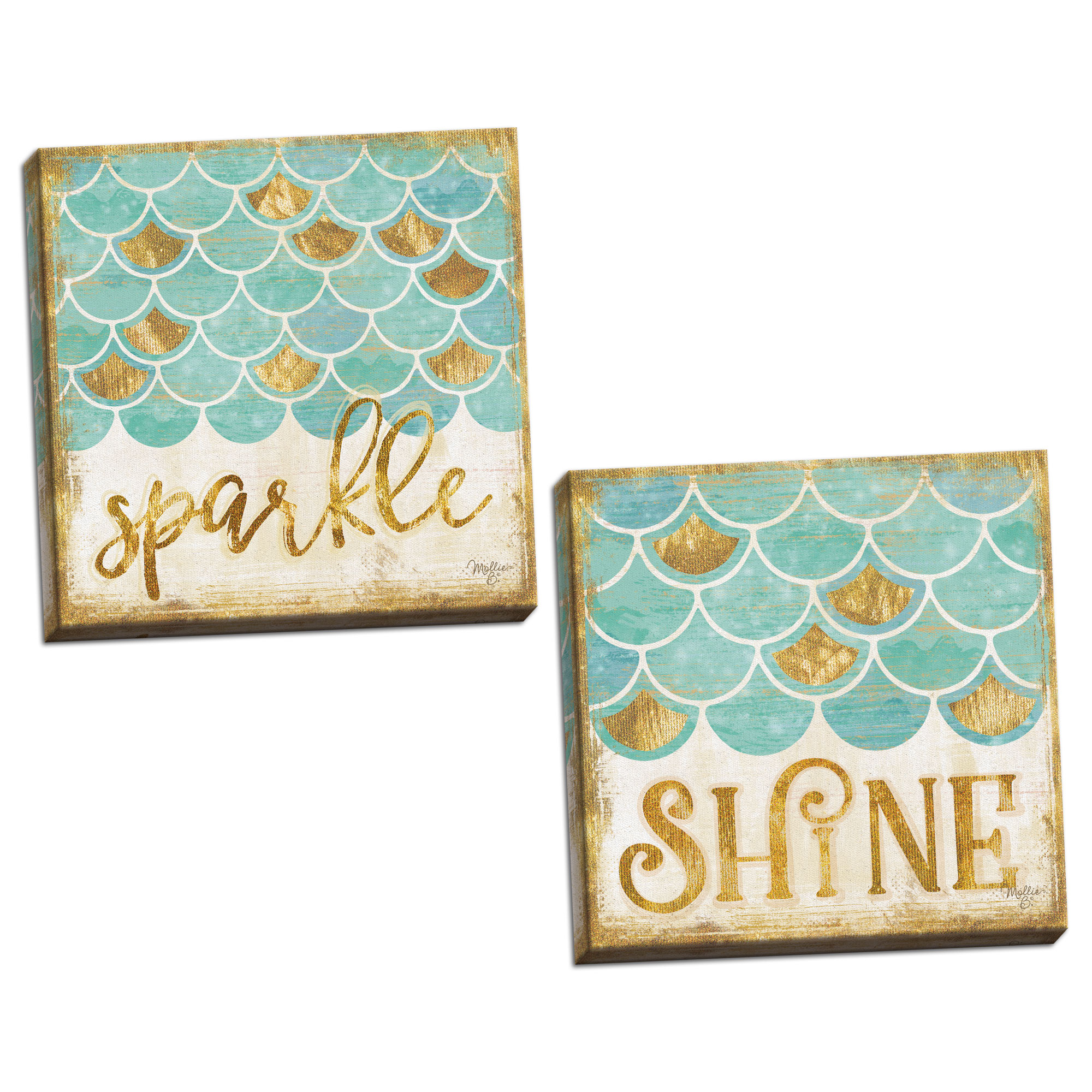Gango Home Decor Coastal Sparkle & Shine by Mollie B. (Ready to Hang); Two 12x12in Hand-Stretched Canvases