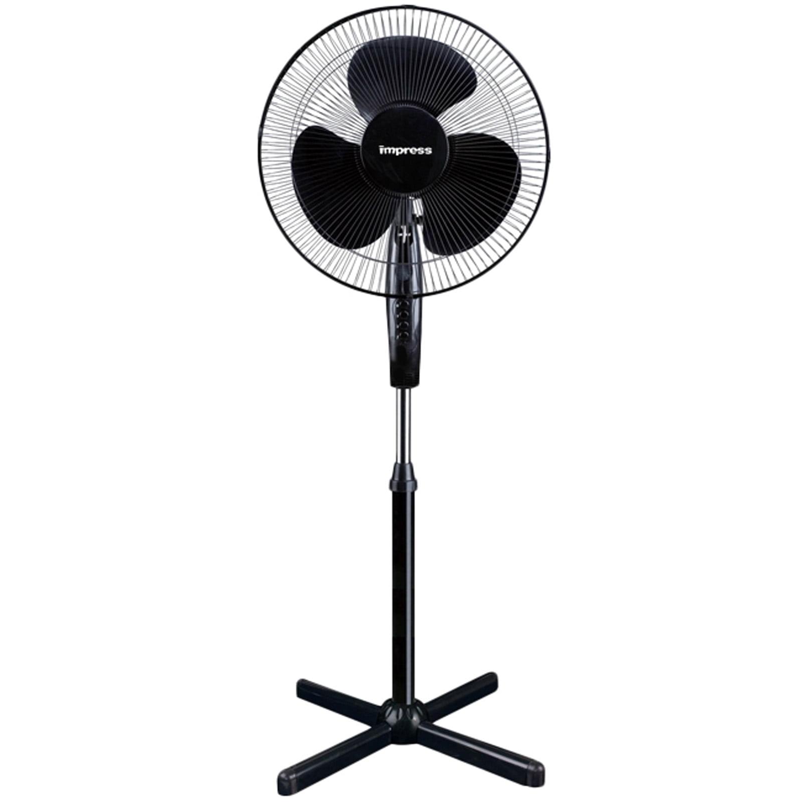 """Impress 16"""" Oscillating Stand Fan (black) IM-725B"""
