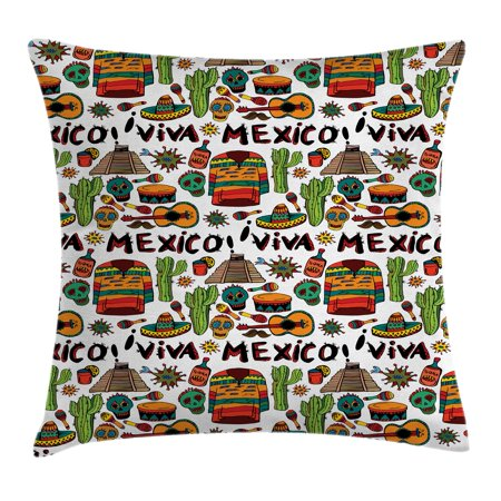 Hot Tequila - Mexican Decorations Throw Pillow Cushion Cover, Viva Mexico with Native Elements Poncho Tequila Salsa Hot Peppers Image, Decorative Square Accent Pillow Case, 24 X 24 Inches, Multi, by Ambesonne