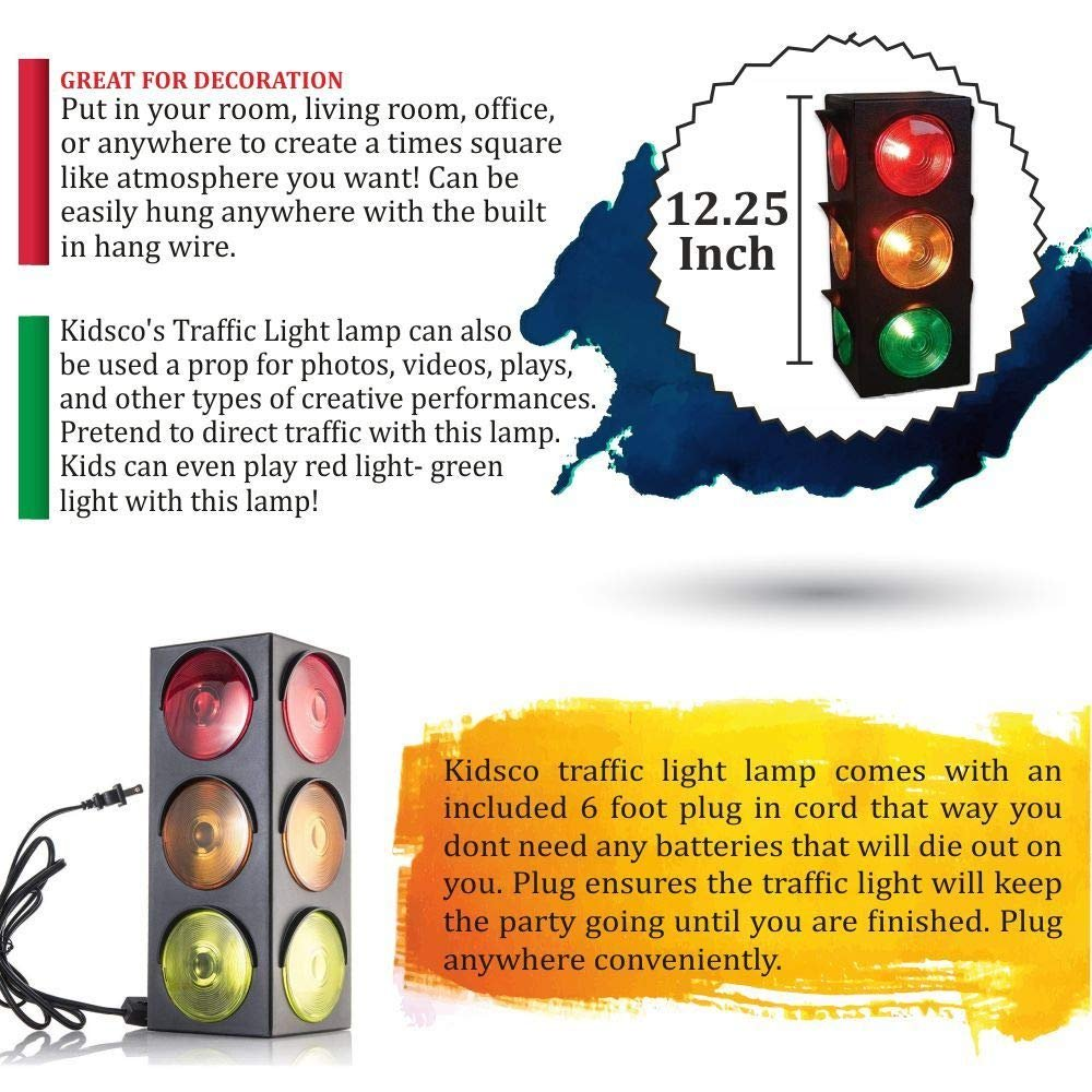 Traffic Light Lamp Plug In Blinking Triple Sided 12 25 Inch For Kids Bedrooms Decorations Parties Celebrations Prop Gift Kidsco