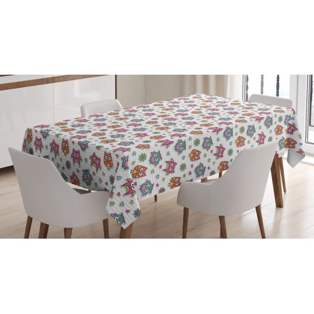 Owls Tablecloth, Cute Cartoon Owls Hearts and Daisy Flowers Romantic Funny Characters Scrapbook Style, Rectangular Table Cover for Dining Room Kitchen, 52 X 70 Inches, Multicolor, by Ambesonne - Scrapbook Table