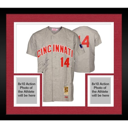 Framed Pete Rose Cincinnati Reds Autographed Mitchell & Ness Gray Jersey with Hit King 4256 Inscription Fanatics Authentic Certified by