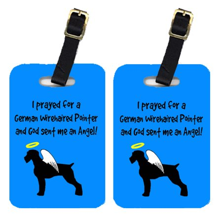 Pair of 2 German Wirehaired Pointer Luggage Tags