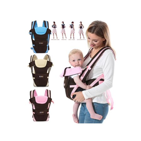 Kidsform Adjustable Infant Baby Carrier Sling Wrap Rider Carrier Backpack Front/Back Pack Khaki, Blue, Pink 4 Carrying Position Modes newborncarrier With Storage Bag