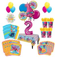 Trolls Poppy 2nd Birthday Party Supplies 8 Guest Kit and Balloon Bouquet Decorations