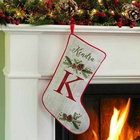 Christmas Pine Personalized - Gray Christmas Stockings