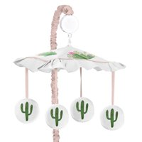 Sweet Jojo Designs  Pink and Green Boho Watercolor Cactus Floral Collection Musical Crib Mobile
