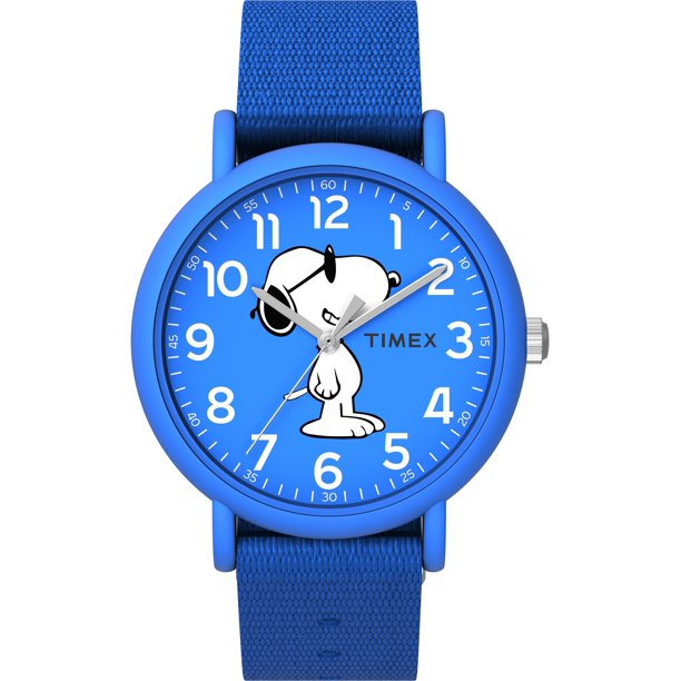 Timex Unisex Weekender 34mm Peanuts Snoopy Blue Fabric Slip-Thru Watch