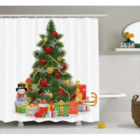 Christmas Shower Curtain, Xmas Tree with Vivid Balls and Snowflakes New Year Celebration Theme Art, Fabric Bathroom Set with Hooks, 69W X 84L Inches Extra Long, Red Green Yellow, by Ambesonne