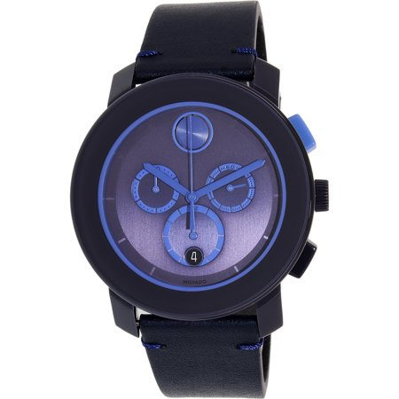 ce56ad0d9 Movado - Men's Bold 3600349 Blue Leather Swiss Quartz Watch - Walmart.com