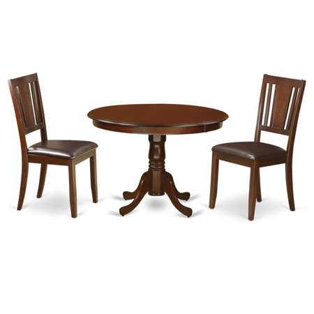 Dining Set One Round Kitchen Table 2 Chairs Faux Leather Seat 44 Mahogany 42 In 3 Piece