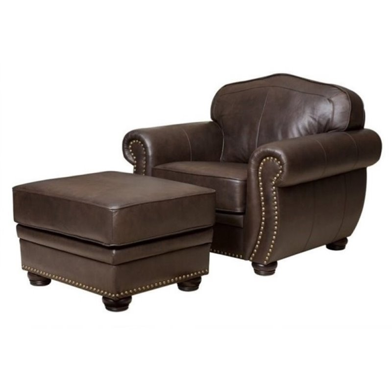 Bowery Hill Leather Club Chair with Ottoman in Brown by Bowery Hill