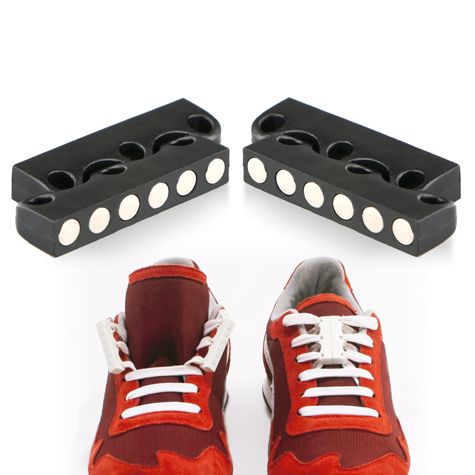 TSV Novelty DIY Shoe Buckles Sneaker No-Tie Magnetic Casual Closure Snap-in Shoelace for Adults & Kids - Black