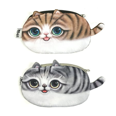 Slant Face Pouch - ALLYDREW Cat Face Pencil Pouches Kitty Pencil Holders Cat Pencil Cases 3D Cat Cosmetic Bags (set of 2) - Brown Cat & Gray Cat