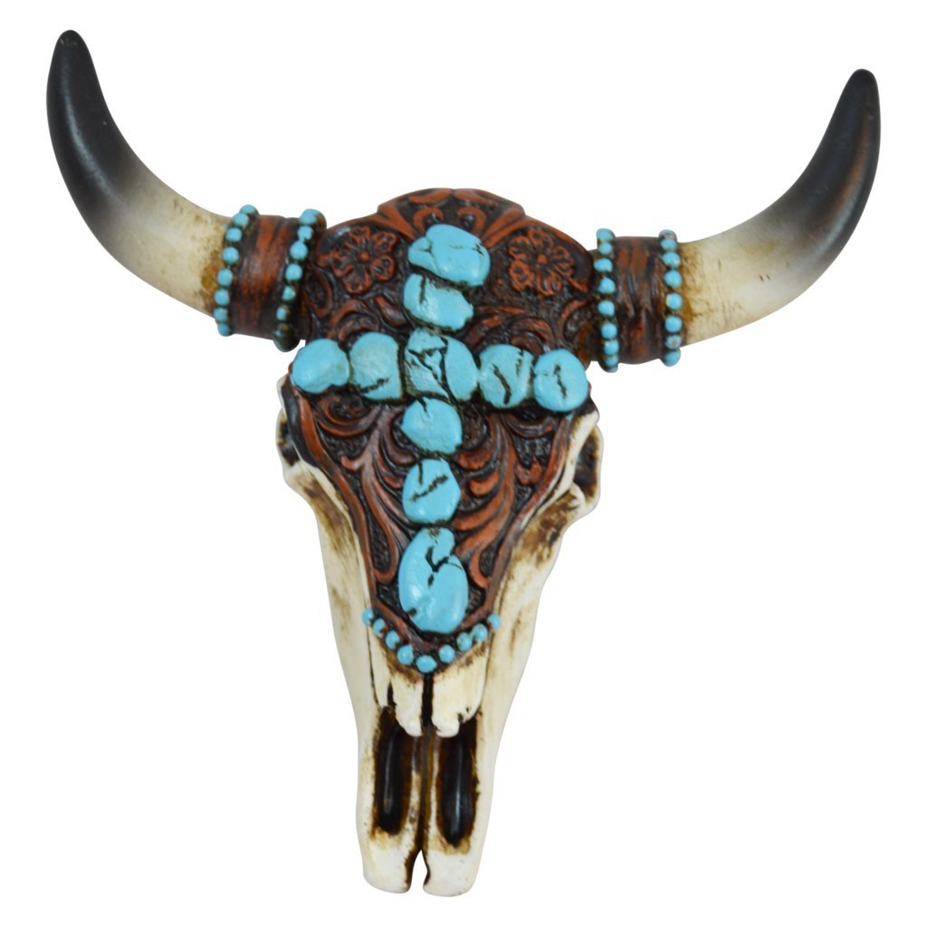 Pine Ridge Realistic Look Southwestern Magnetic Steer Skull with Turquoise Pebble Cross Centerpiece and Intricate Carvings - Wall Mount Hanging Longhorn Outdoor Decor