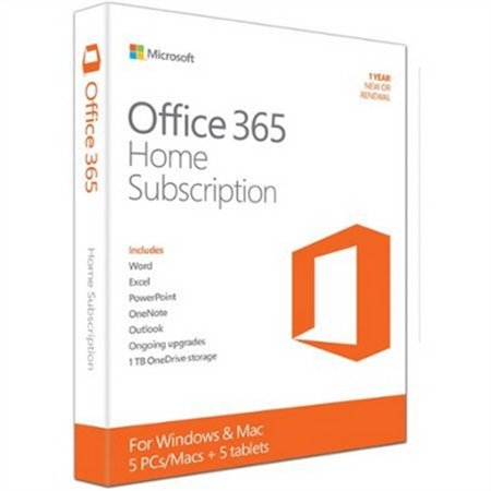 Microsoft Office 365 Home 1 Year 5 PC or 5 Mac Key Card
