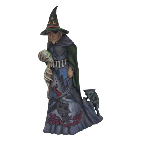 Jim Shore Halloween 6001546   Witch with Skull 2018 - Jim Shore Halloween Cats