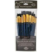 Royal Brush Zip N' Close 12-Brush Set, Black Taklon, Flat, Short Handle