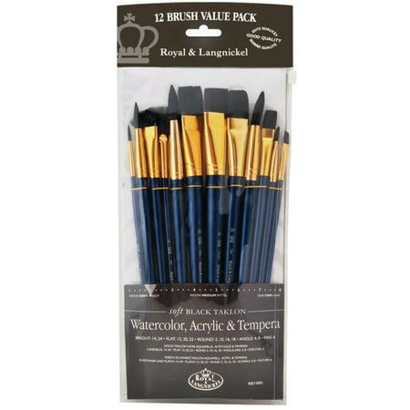 Taklon Wash Brush (Royal Brush Zip N' Close 12-Brush Set, Black Taklon, Flat, Short Handle )