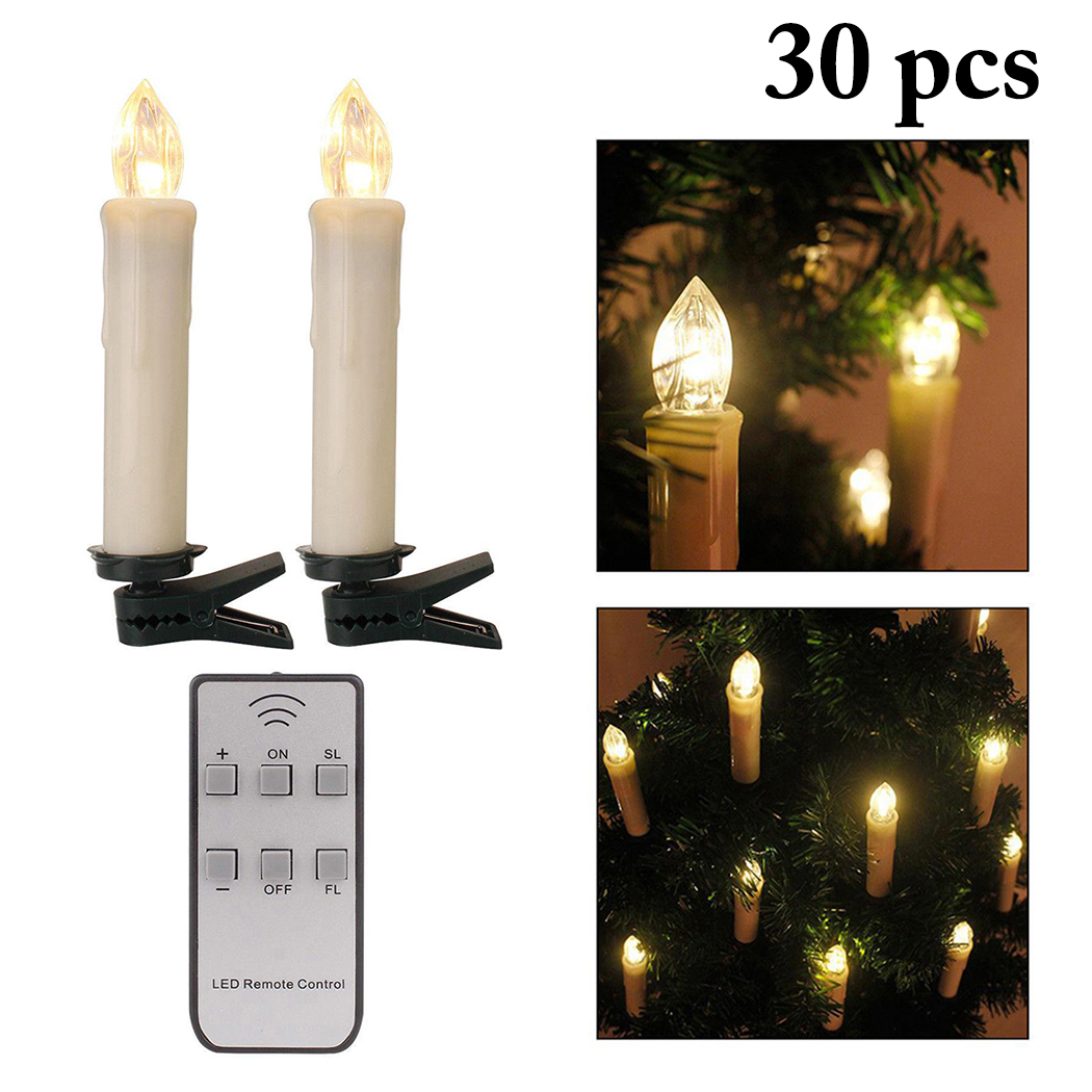 3 94 0 71in 30 Pcs Led Candle Justdolife Battery Operated Light With Clip Flameless Remote Control For Christmas Xmas Tree Party
