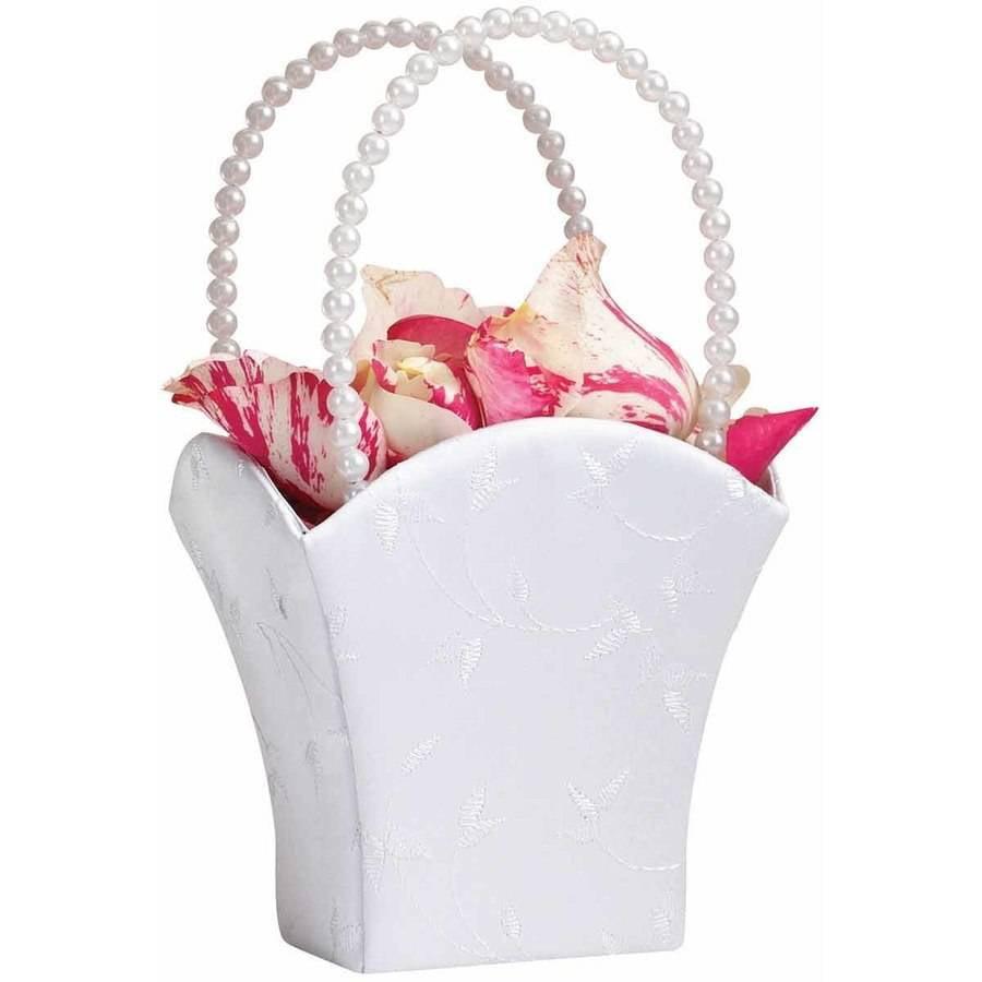 Lillian Rose Elegant White Flower Girl Basket