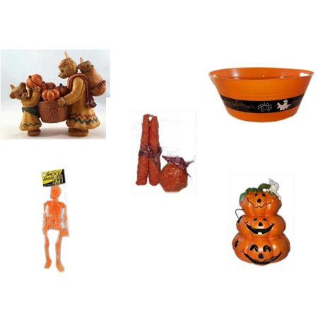 Halloween Fun Gift Bundle [5 Piece] - Indian Thanksgiving Bear Family Gathering Pumpkins Resin Figurine 5