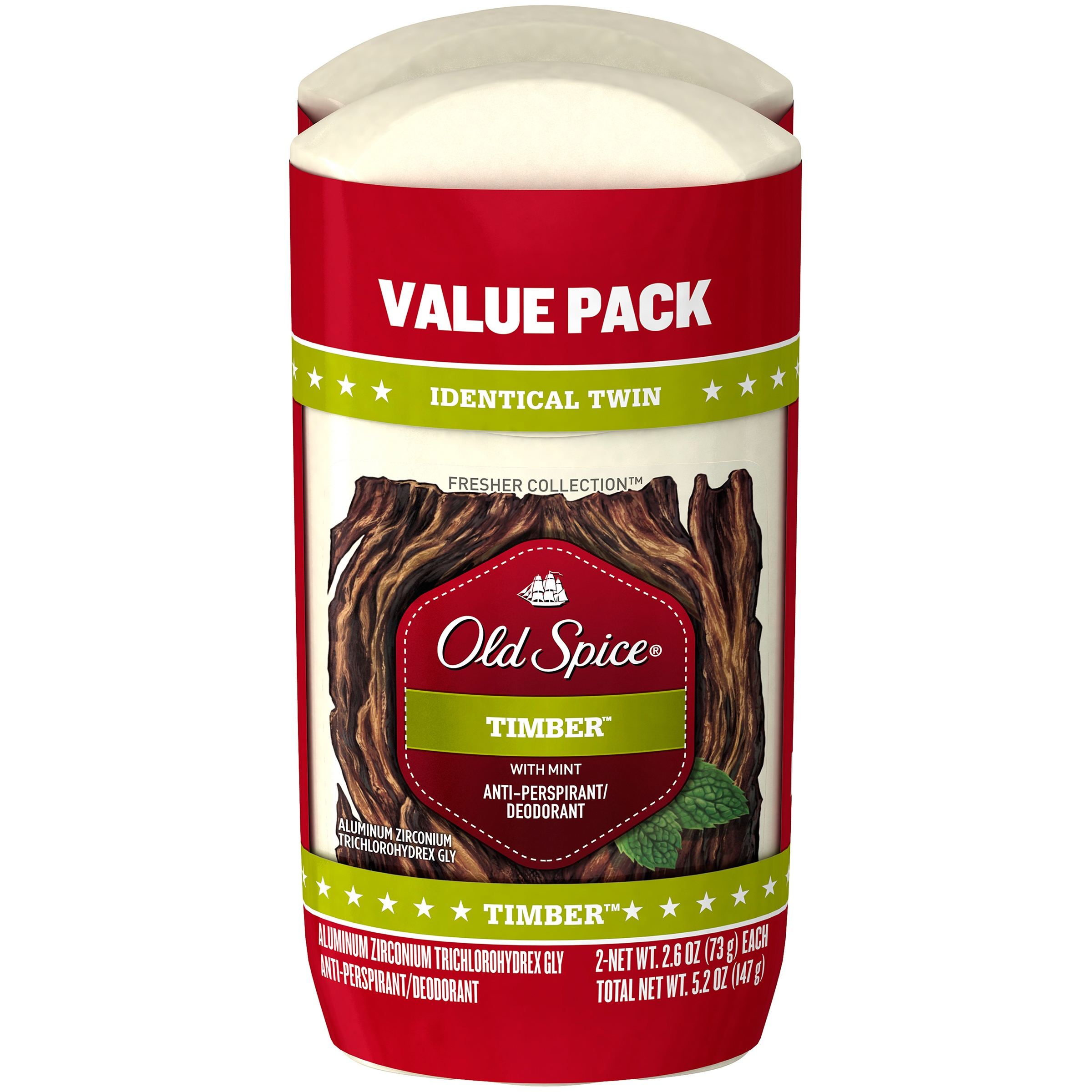 Old Spice Fresh Collection Timber Antiperspirant and Deodorant 2.6 oz Twin Pack